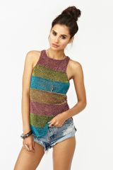 Nasty Gal Disco Stripe Tank in Multicolor (pink) - Lyst