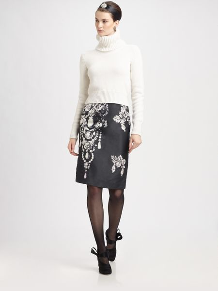 Oscar De La Renta Bijou Print Silk Skirt in White (black) - Lyst