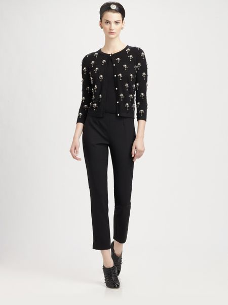 Oscar De La Renta Wool Pants in Black - Lyst