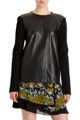 Proenza Schouler Leather Front Zip Sweater in Gold - Lyst