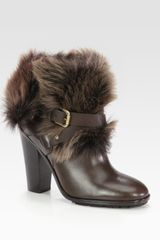 Ralph Lauren Collection Raeanne Leather and Shearling Ankle Boots - Lyst