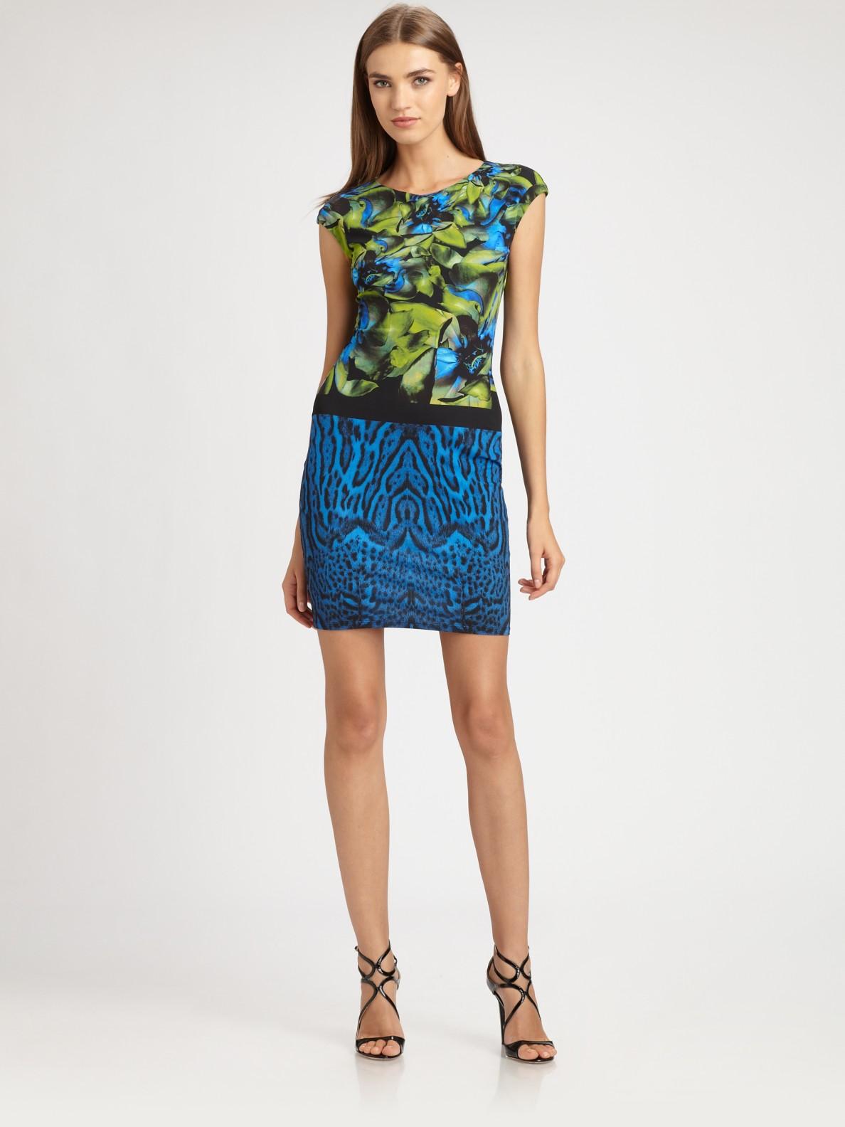 Lyst Roberto Cavalli Printed Dress In Blue
