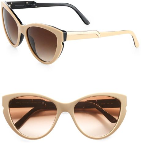 Stella Mccartney Notched Plastic Catseye Sunglasses in Beige - Lyst