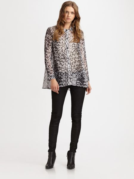 Thakoon Addition Printed Blouse in Gray (black) - Lyst