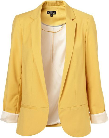 Topshop Structured Blazer in Yellow (mellow yellow)