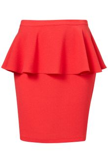 Topshop Red Textured Peplum Skirt - Lyst