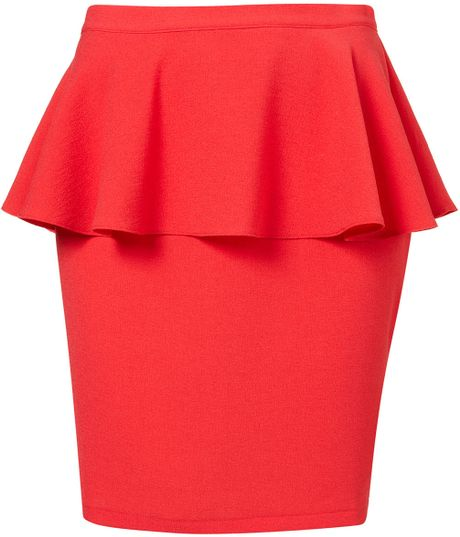Topshop Red Textured Peplum Skirt in Red