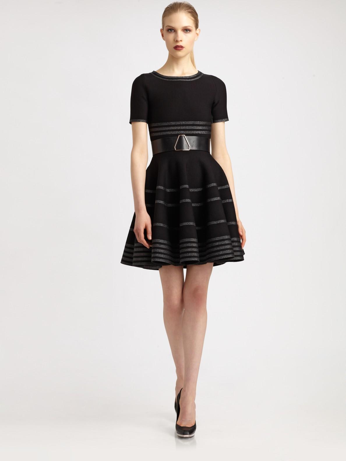 Saint Laurent Striped Flutter Dress In Black Lyst