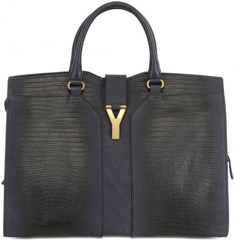 Saint Laurent Large Cabas Chyc Tejus Nabuk Top Handle in Blue (navy)