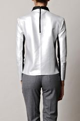 Acne Lydia Metallic Leather Top in Silver - Lyst