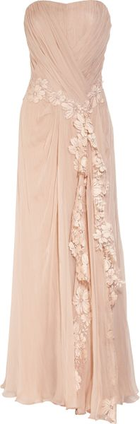Alberta Ferretti Lace Appliqué Silk Gown in Pink (blush) - Lyst