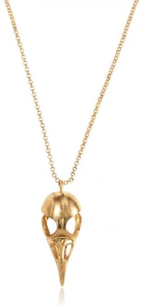 Alexander Mcqueen Bird Skull Brass Necklace in Gold for Men - Lyst