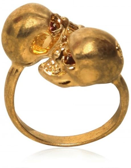 Alexander Mcqueen Twin Skulls Brass Ring in Gold - Lyst