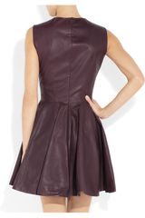 Alexander Mcqueen Pleated Leather Dress in Purple (plum) - Lyst