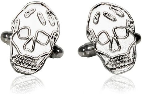 Alexander Mcqueen Pleated Silver Skull Cufflinks in Silver for Men - Lyst