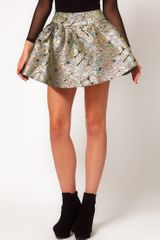 Asos Collection Asos Mini Skirt in Metallic Jacquard in Gold - Lyst