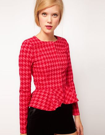 Asos Peplum Jacket in Houndstooth - Lyst