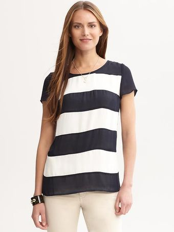 Banana Republic Striped Backzip Top - Lyst