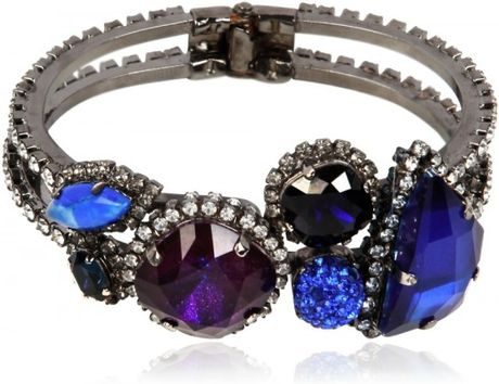 Erickson Beamon Purple and Blue Crystal Bracelet in Blue