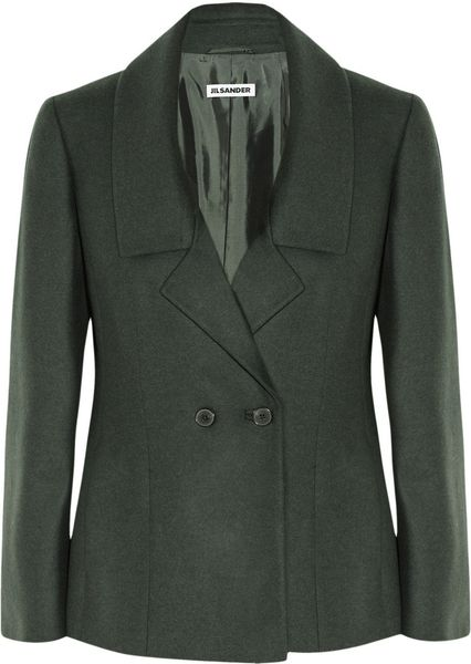 Jil Sander Monet Wool and Angorablend Jacket in Green (forest)