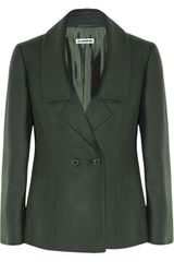 Jil Sander Monet Wool and Angorablend Jacket in Green (forest) - Lyst