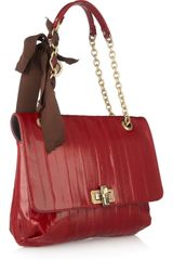 Lanvin Happy Medium Glossed Eel Shoulder Bag in Red - Lyst