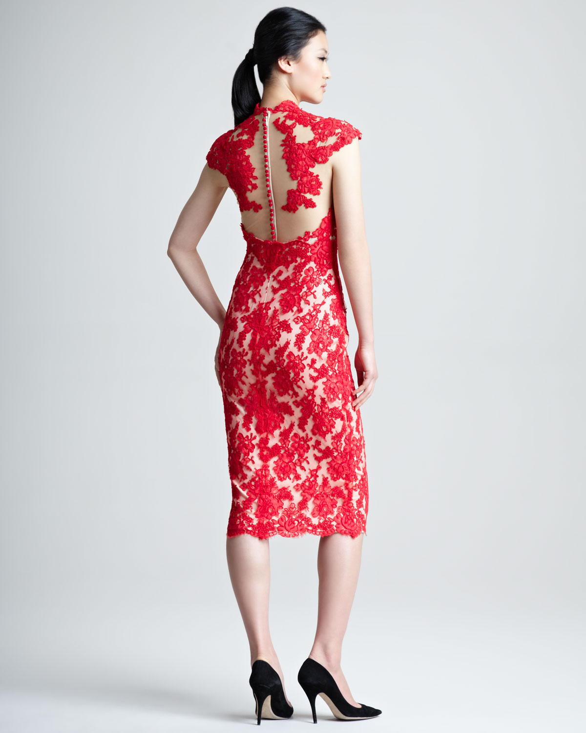 Marchesa Lace Cocktail Dress in Red | Lyst