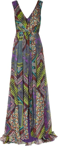 Matthew Williamson Printed Pleated Silkchiffon Gown in Purple (aubergine) - Lyst