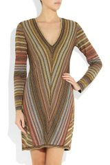 Missoni Striped Metallic Crochetknit Dress in Brown (gold) - Lyst