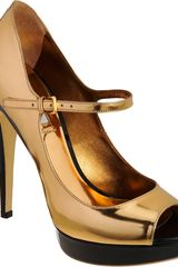 Miu Miu Platform Peep Toe Mary Jane in Gold (black) - Lyst