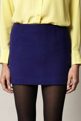 MSGM Fleece Wool Mini Skirt - Lyst