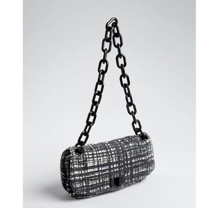 Prada Tweed Resin Chain Strap Shoulder Bag in Black | Lyst