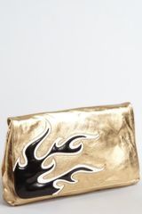 Prada  Leather Foldover Flame Large Clutch in Gold - Lyst