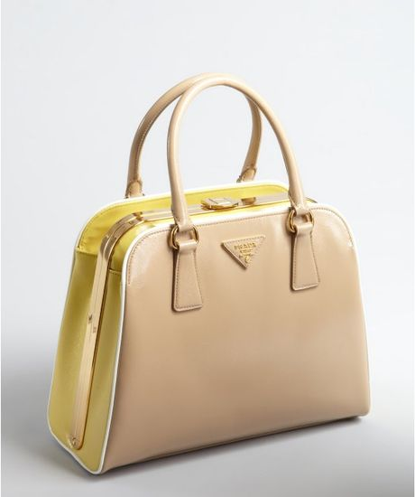Prada Patent Saffiano Leather Frame Top Handbag in Beige ...
