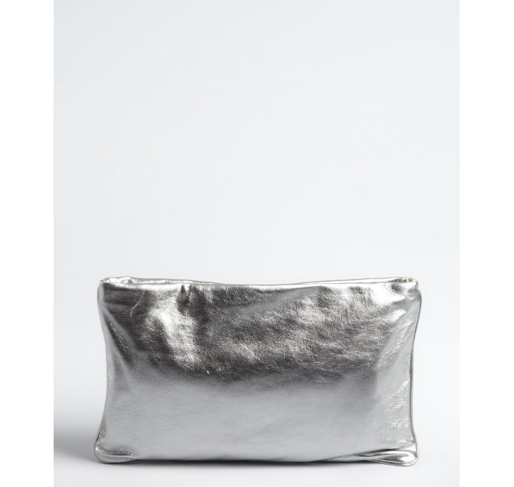 best faks - Prada Leather Auto Flame Zip Clutch in Silver | Lyst