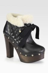 RED Valentino Leather and Shearling Laceup Ankle Boots - Lyst