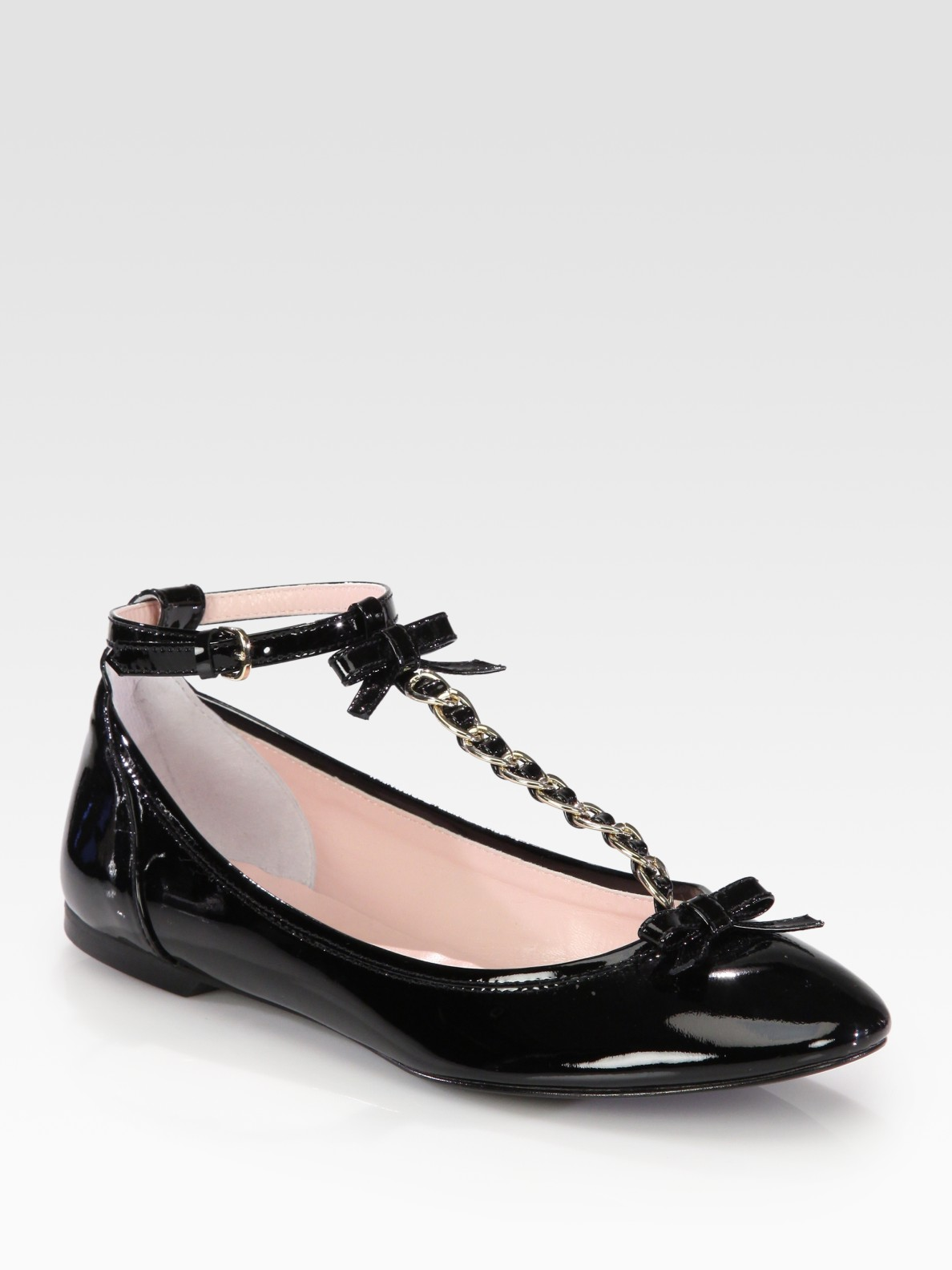 3dd04b3724c1 Lyst - RED Valentino Patent Leather Bow T-Strap Ballet Flats in Black