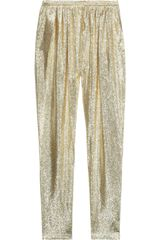 Stella McCartney Christine Silk Blend Lamé Tapered Pants