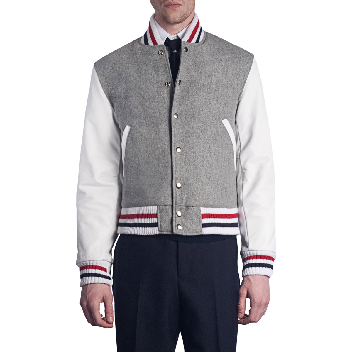 Thom browne Letterman Jacket in Gray for Men | Lyst