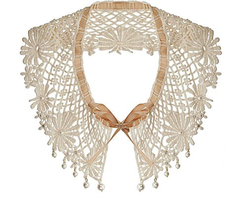 Topshop Pearl and Fabric Collar in White (cream) - Lyst