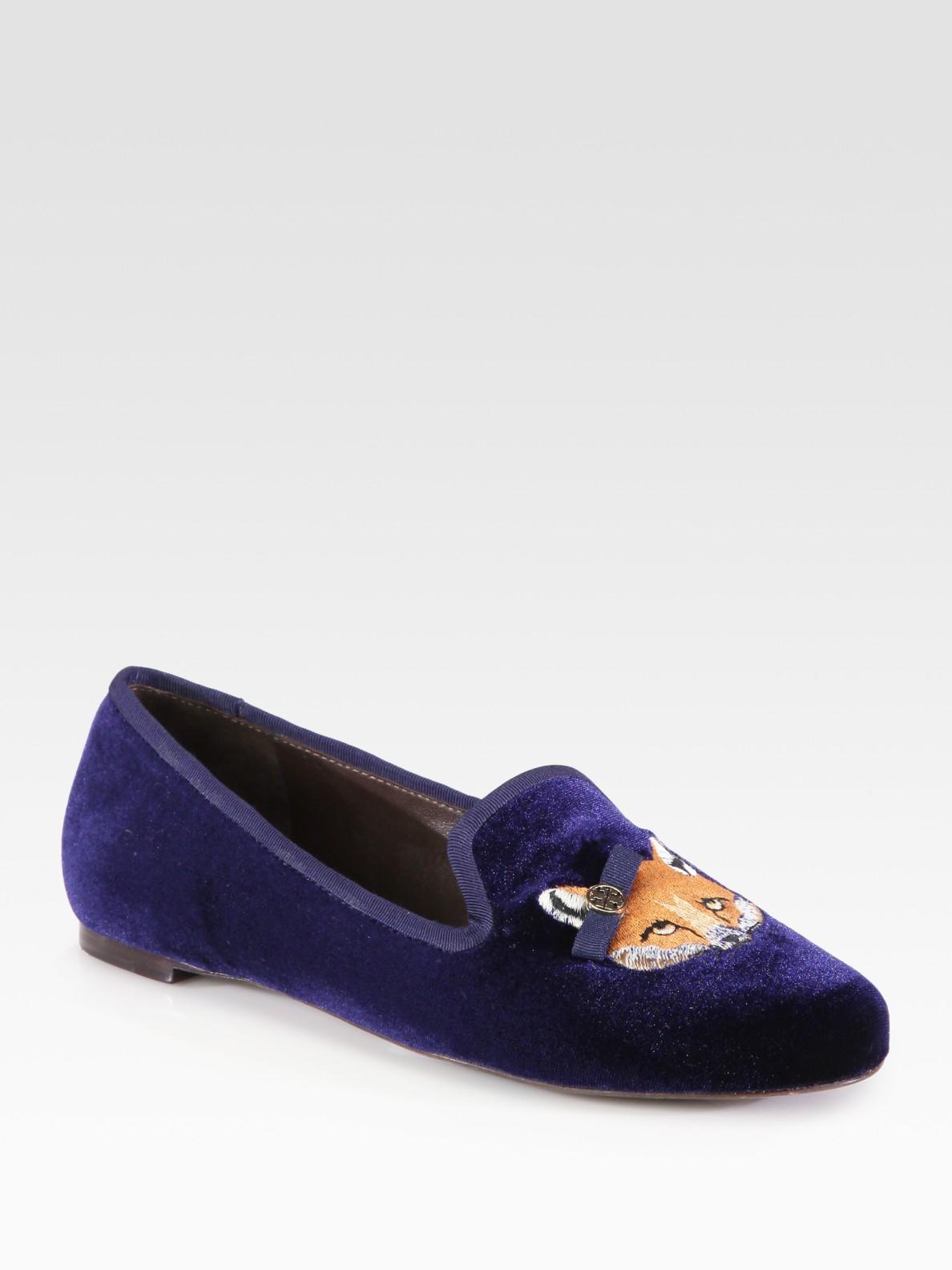 Tory Burch Fox Velvet Smoking Slippers In Blue Lyst