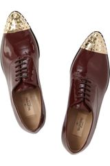 Valentino Studded Patentleather and Metal Shoes in Brown (prune) - Lyst