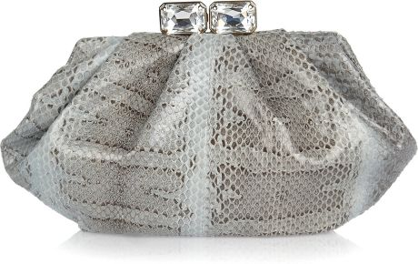 Valentino Jewelclasp Watersnake Clutch in Silver - Lyst