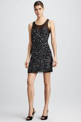 Aidan Mattox Beaded Illusionneck Dress - Lyst