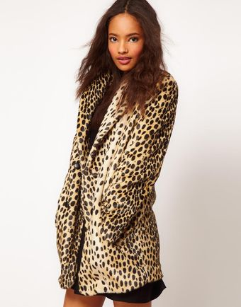 ASOS Collection Asos Leopard Oversized Coat - Lyst