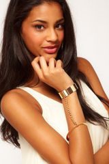 Asos Linked Cuff Bangle in Gold - Lyst