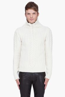 Balmain Cream Irish Knit Turtleneck - Lyst