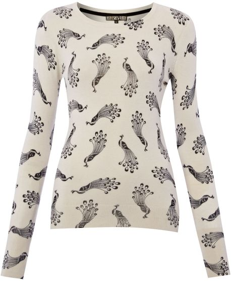 Biba Peacock Printed Jumper in Beige (multi-coloured) - Lyst