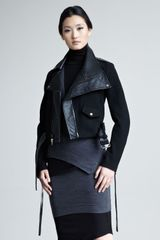 Donna Karan New York Modern Felt Leather Moto Jacket - Lyst