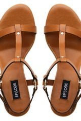 Episode Fedora Metal Trim T Bar Sandal in Brown (tan) - Lyst